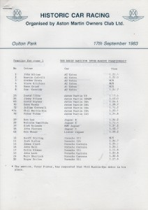 Practice times for Aston Martin Owners Club Historic Car Races on 17th September 1983