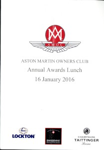 Programme: Aston Martin Owners Club Annual Awards Lunch, 16 January 2016.