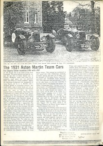 Photocopy of a magazine article from Motorsport, May 1980 'The 1931 Aston Martin Team Cars'
