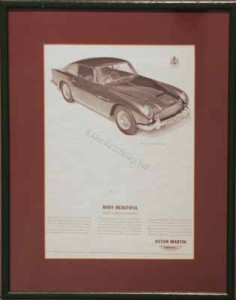 Framed advertisment for the Aston Martin DB4 Vantage, 1963