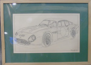 Framed drawing of Aston Martin DB4GT Zagato, 2 VEV (DB4GT/0183/R),  by N M Cunningham 2003.