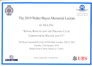 Invitation to the 2019 AMHT Walter Hayes Memorial Lecture