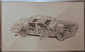 Large diagramatic drawing of a Lagonda V8.