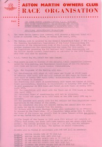 Additional Supplementary Regulations for British Haynes Leaders Championship at Wiscombe Park Hill Climb, 16th April 1978