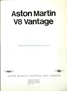 "Aston Martin produced reprint of Autocar Article: ""Aston Martin V8 Vantage"""