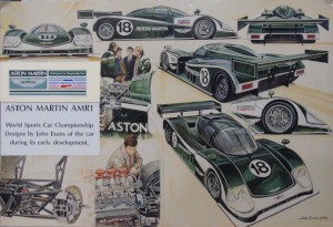 Series of drawings of Aston Martin AMR1 by John Evans, 1989