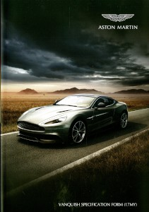 Aston Martin Vanquish Specification form (MY 2017).