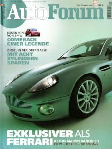 'Autoforum' German Magazine, January 2001 - 'Exklusiver Als Ferrari: Aston Martin Vanquish'