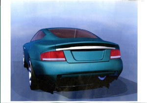 Set of 15 CAD printouts for the rear light design of the Aston Martin V12 Vanquish (2001-2007 model)