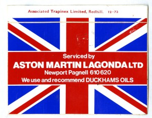 Sticker: Serviced by Aston Martin Lagonda Limited