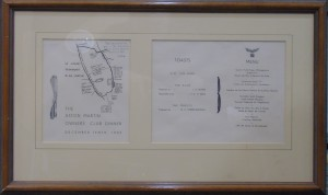 Framed Aston Martin Owner's Club dinner menu from 10th December, 1937.
