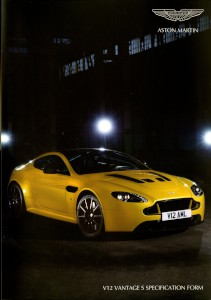 Aston Martin V12 Vantage S Specification form