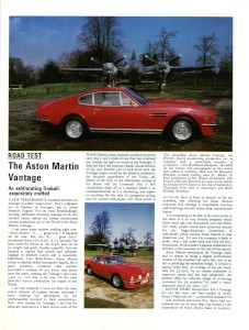 "Aston Martin produced reprinted from ""MotorSport"" magazine 'The Aston Martin Vantage.'"