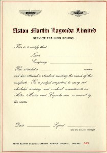 Aston Martin Lagonda Service Training School Certificate (blank)