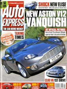 'Autoexpress' Magazine, 11th October 2000 - 'New Aston V12 Vanquish''
