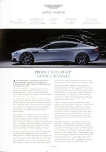 'AM People' Aston Martin internal Magazine. Num.86 April 2019