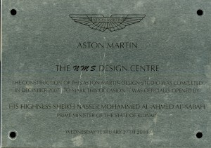 Metal effect  plaque commemorating the opening of the Aston Martin NMS design centre on the 27th of February 2008