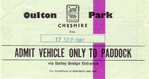 Paddock car park pass for Aston Martin Owners Club Historic Car Races on 17th September 1983