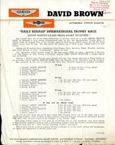 Aston Martin Press Release - 1955 - Daily Herald Internaional Trophy Race - 'Aston Martin leads from Start to Finish'