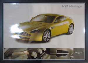 Framed poster of an Aston Martin V8 Vantage
