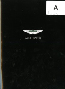 Product Briefing Document for the Aston Martin V8 Vantage S, 2011.