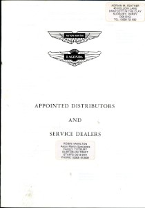 Booklet listing Aston Martin Lagonda Distributors and Dealers, February 1979.
