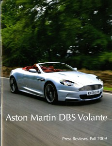 USA print media highlights for the Aston Martin DBS Volante, Fall 2009