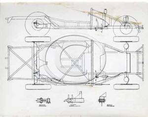 Technical drawing of the side and overview of a DB2 chassis.