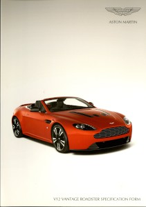Aston Martin V12 Vantage Roadster Specification form