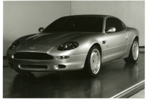 Press Photograph of an early version Aston Martin DB7 i6 coupe, black and white