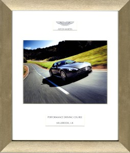 Framed presentation image of Aston Martin V8 Vantage from the Millbrook Performance Driving Course