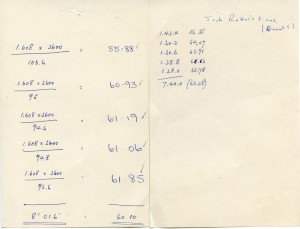 Handwritten Lap Times for J.A Retter in Event 5