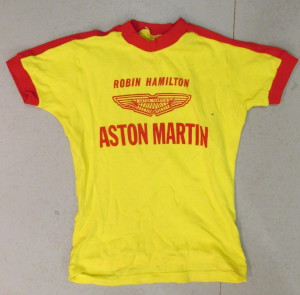 Yellow T-Shirt with Robin Hamilton and Aston Martin on front
